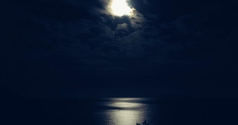 moon on the sea
